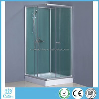 Square luxury toughened glass shower enclosure with adjustable profile