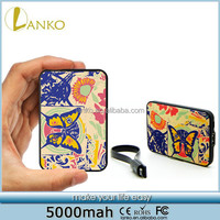 Flower Butterfly 5000mah portable charger credit card power bank