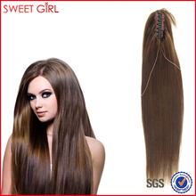 60 cm color 6# remy Indian human hair claw clip ponytail