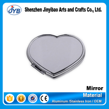 heart shaped metal blank silver plated compact mirror for makeup