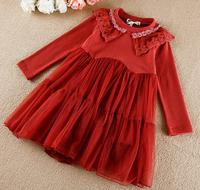 d95605t autumn long sleeve O neck fashion dresses for 2-8 years baby girl /flower girl net dresses