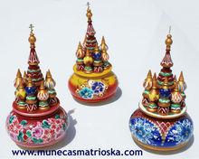 Caja musical rusa hecha de madera, producto artesanal, cajita de musica en forma de Basilica de Moscu