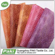 high quality snake skin PU leather for car seat