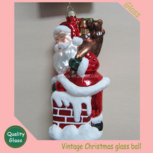 Santa cluse Christmas Gold Tinsel hand painted Ball Ornaments