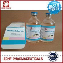 Gmp veterinaria anti fiebre medicina china 10% diclofenac sodio inyección