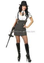Feminino gangster vestuário grossista fantasias de carnaval qawc- 2886