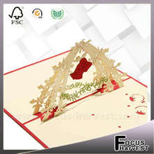 Bell greeting cards creative 3D greeting card Christmas gift cards handmade postcards