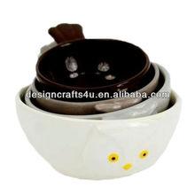 novelty owl bird ceramic measuring cup
