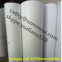 Jumpo roll 1070mmX400m eggshell stickers paper, available any color non-removable security adhesive label paper