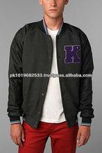 Wool Baseball. Varsity Jacket with Leather Sleeve