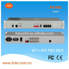 Good quality 4E1(75/120ohm)+console+phone+2expansion+4*100Mbps ethernet pdh fiber multiplexer
