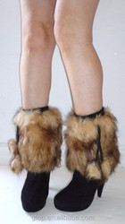 Women Girls balls Faux Fur Leg Warmers