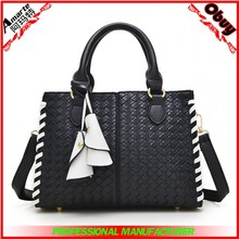 Classic women knitted pattern tote purse leather bag