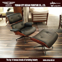 Modern leisure leather swivel chair with footrest DX-A031