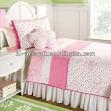 Kids Applique Flower Peach Colored Comforter Sets HLK026