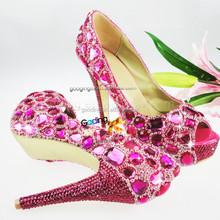 Fashion Heels Wholesale Shoes bronze wedding shoes Handmade Crystal Shoes