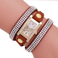 Hot sale New Arrive 6 Colors Square Shape Diamond Fashion Lady Watch