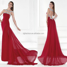 New Arrival Sleeveless Beaded Satin Long Train Chiffon Red Evening Wear 2015