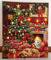 Christmas ornament christmas tree warm home printing canvas with led lights