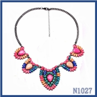2015 Promotion American popular necklace jewelry delicate heart shaped colorful resin stone necklace