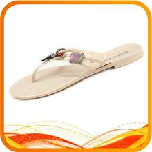 bright pvc flat flip flop with rhinestone