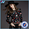 Ladies Black Long Sleeves sweatshirt with Flower embroidered logo High Quality Crewneck Blouse Fashion Lady Knitted Sweatshirt