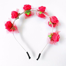 flower wreath headband/floral crom garland halo for wedding/aritificial pe flower hair accessories