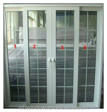 Doors PVC Sliding Door With Double Glass And Grill Door With Grill
