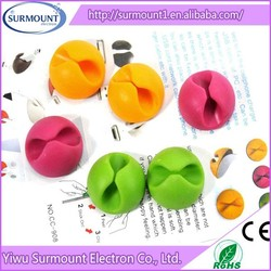 Wholesale cute silicone cable winder Computer Cable Clip Desk Sticker Winder