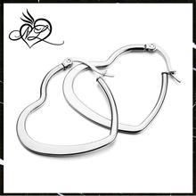 Women's Stainless Steel Stud Hoop huggie Earrings Silver Heart Round Unique Polished
