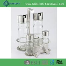 Glass oil and vinegar jar stainless steel cruet spice set