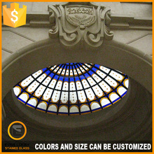 half round stained glass dome and sliding doors