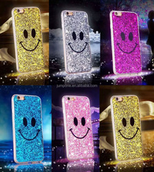 Cute Bling Smiling Face Soft TPU Case Back Cover For iPhone 5 / 5s / 6 / 6 Plus