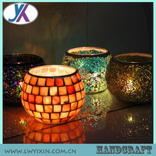 2015 Halloween colored mosaic glass candle holders