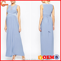 New arrival front keyhole design maxi dresses for all stages of maternity dress