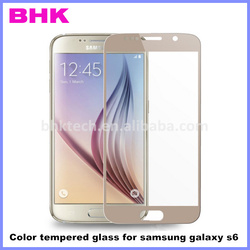 9H dust proof silicone adhesive color tempered glass for samsung galaxy s6,colorful tempered screen protector guard