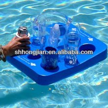 Blue Floating Mini Tray Beverage Tray Snacks Tray Holder with Checkers Game