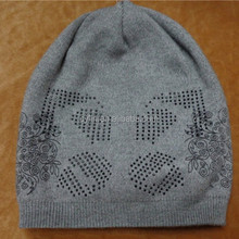Mens winter knitted hat, slouch hat with rhinestone, baggy hat