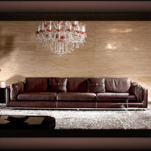 Luxury modern living room leather sofa HD153 with stainless steel leg