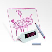 Message desk clock with highlighter pen