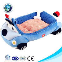 Wholesale cheap luxury pet dog bed cute dog bed pet home washable soft plush blue car shaped heated pet bed