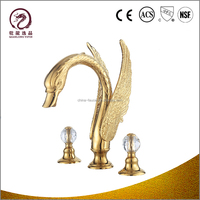 China manufacturer dual crystal handle solid gold basin faucet