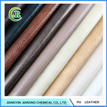 Hydrolysis Resistance Lychee Pattern PU Leather Fabric for Sofa