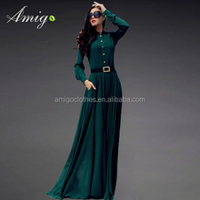 2015 long sleeve sheer chiffon maxi green party dress factory price