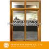 Luxury Crystal Santos Rosewood painting aluminium sliding door residential entry doors with two fix window