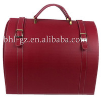PU Leather handmade vintage party decorative gift basket luxury wine carrier wine bottle storage PU bag with cover L47