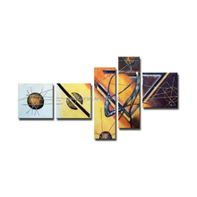 High grade special abstract magical yellow color dancer five groups oil Painting on Canvas for living room