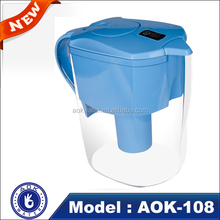 New design low negative ORP AOK-108 portable alkaline water filter pitcher