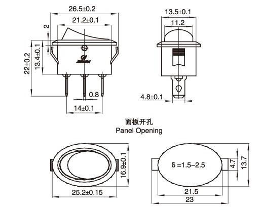 220v 110v neon lamp illuminated micro round rocker switch