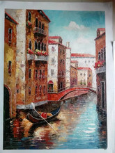 natural venice scenery painting,Modern home decor hand-drawn art of painting, wall decoration pictures large size wholesale